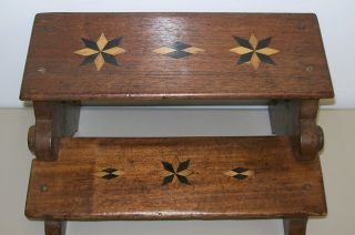 Wonderful 19th C Folk Art 8 - Pointed Mariners Star Inlaid Childs Bench Stool Nr photo