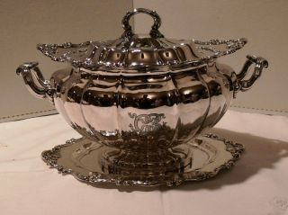 Lovely Gorham Sterling Silver Soup Tureen With Matching Tray Gifted In 1893 photo