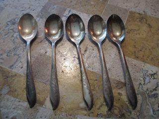 5 Springtime Silverplate Coffee Spoons 1847 Rogers Bros Is 1957 International photo