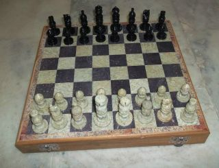 Chess Game Set Soap Stone & Wood 12