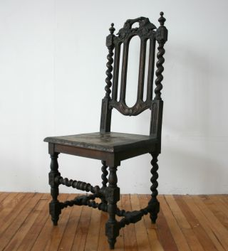 Antique Victorian Oak Chair Gothic Hall Carved photo