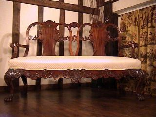 Irish Solid Mahogany Double Chair Back ' Chippendale ' Carved Settee C.  1850 photo