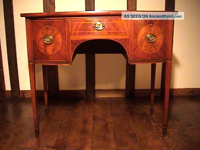 Small & Very Pretty George Iii Mahogany Bow Front Sideboard C.  1800 Pre-1800 photo