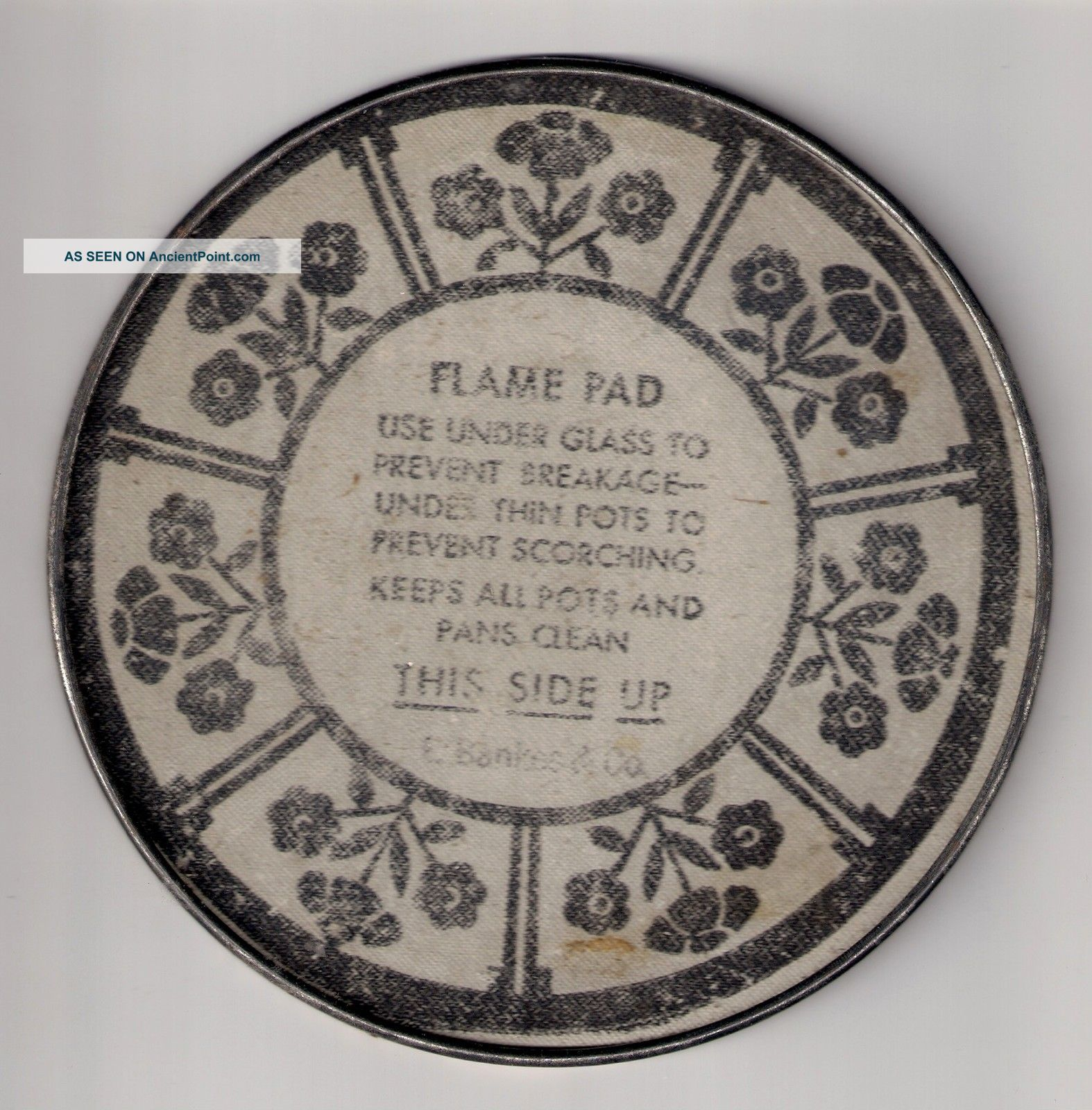 Antique Flame Pad,  Hot Pad,  E.  Bankes & Co. ,  Metal Trivet,  Vintage Hot Pad, Trivets photo