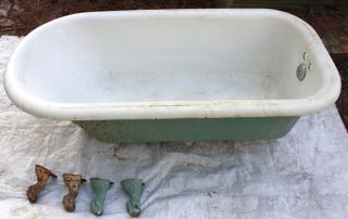 1922 Crane 5ft Cast Iron Clawfoot Bathtub W/ Feet, photo