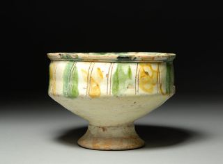 Ancient Medieval Byzantine Cypriot Sgraffito Glazed Pottery Bowl photo