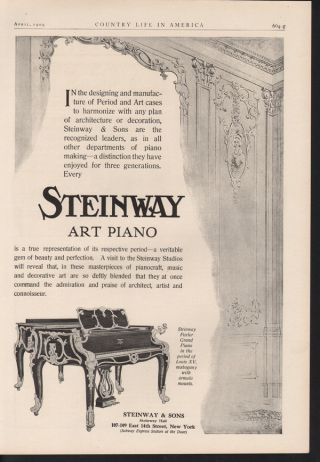 Fp 1909 Steinway Art Piano Music Perform Mahogany New York photo