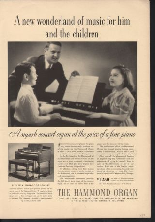 Fp 1937 Hammond Organ Piano Keyboard Music Child Chicago photo