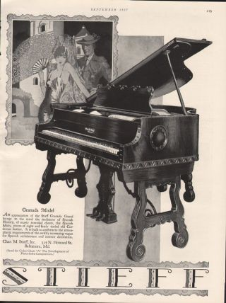 Fp 1927 Stieff Granada Model Piano Music Entertainment Instrument Baltimore Spai photo