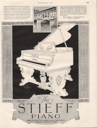 Fp 1927 Stieff Florentine Piano Music Instrument Song Sing Vi Tornabuoni Italy A photo