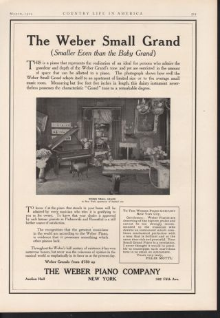 Fp 1909 Weber Grand Piano Music New York Entertain String photo