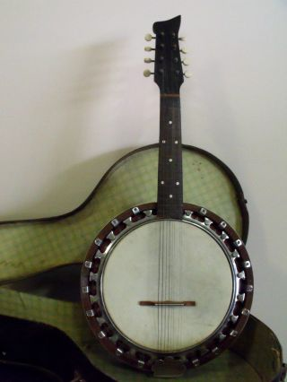 Antique 8 - String Mandolin - Banjo,  Case, ,  61cm L,  27.  7cm W,  5.  5cm Depth. photo