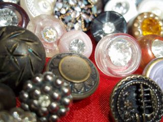88 Buttons Lots Vintage Rhinestone New Glass Antique Czech Picture Victorian photo