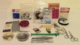 Vintage Sewing Box Contents Notions & Knitting Needles Buttons Scissors No Reser photo