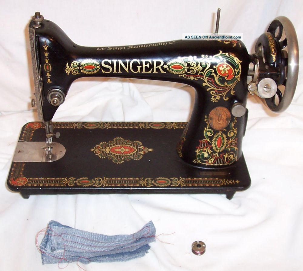 Serviced Antique 1917 Singer 66 - 1 Red Eye Treadle Sewing Machine Works Sewing Machines photo