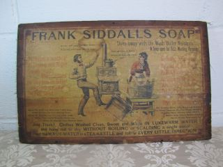 Antique Frank Siddalls Soap Wooden Box Top Panel - Great Litho Upper Lid Label photo