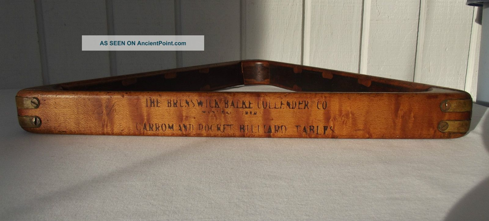 Gorgeous Antique Tiger Maple Brunswick Billiard Ball Pool Table Rack 15 X 2 1/4