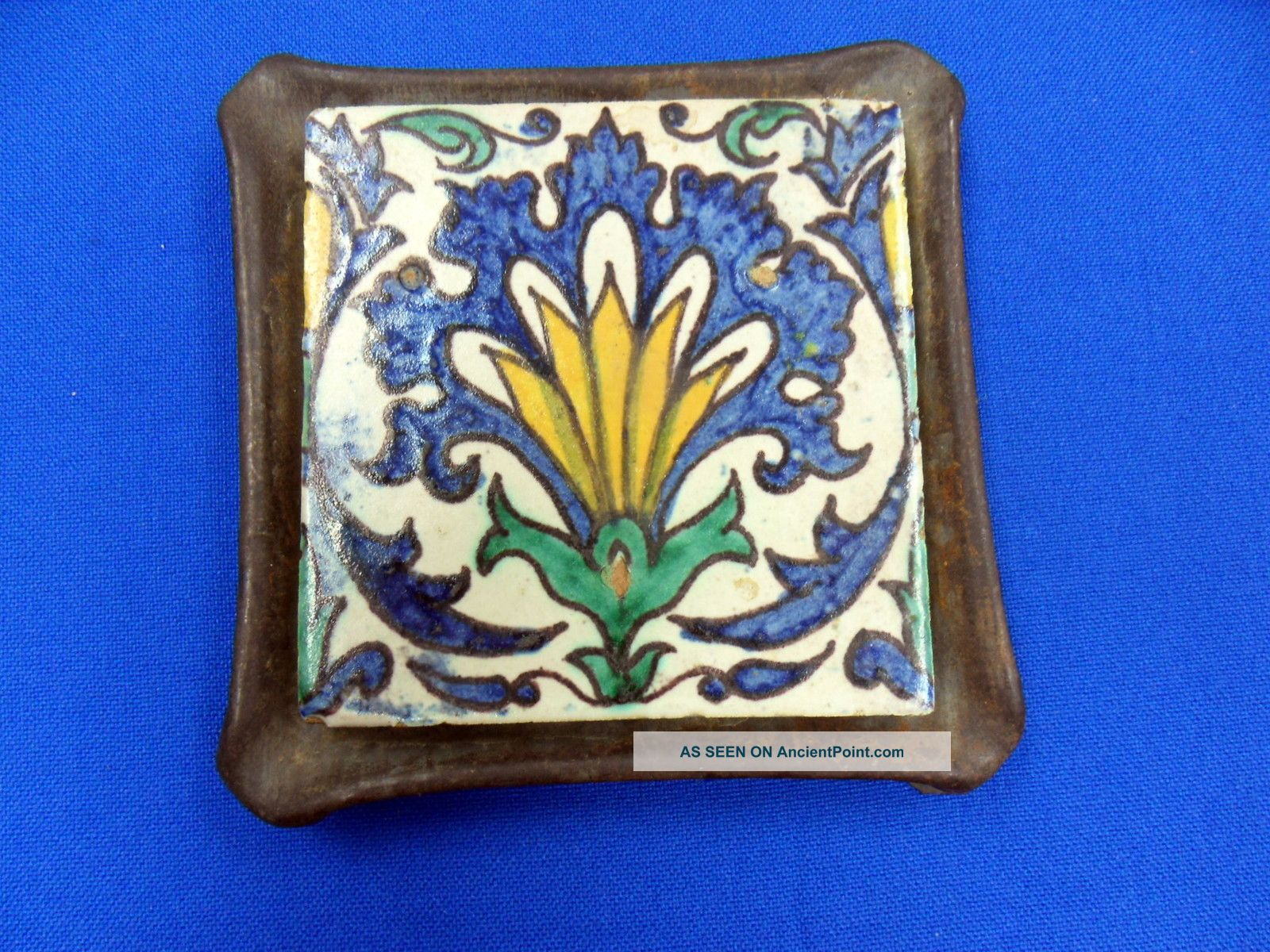 Antique Vintage Trivet Tile In Metal Stand Trivets photo
