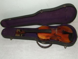 Antique 19th Century Handmade German Violin With Case; Germany photo