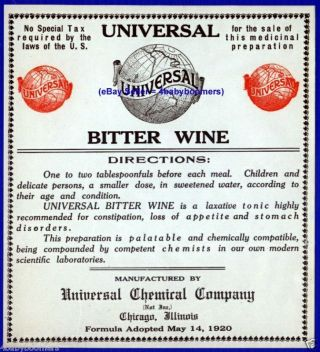 1920 5.  25 X5 Inch Antique Bitter Wine Pharmacy Prohibition Medicine Bottle Label photo