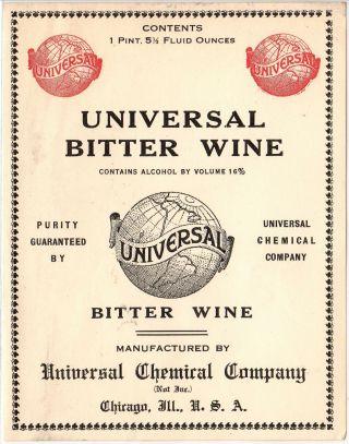 1920s 5 X 4 Inch Antique Bitter Wine Drugstore Prohibition Medicine Bottle Label photo