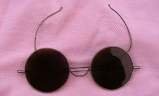 Antique Victorian Deco Vtg Sun Glasses John Lennon Spectacles Silver Wire Frames photo