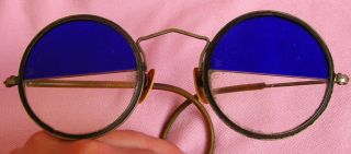 Antique Art Deco Vintage Cobalt Blue Sun Shooting Glasses Industrial Steampunk photo