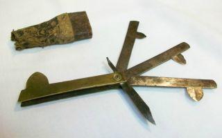 Ant ' Q Civil War 3 Blade Plus Lancet Brass Fleam Bleeder Surgical Medical Tool photo
