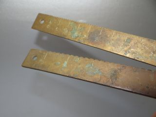 Two Antique Old Metal Brass Weight Scale Rulers Measuring Tools Bars Parts Nr photo