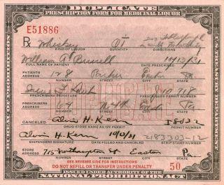 Antique Prohibition Whiskey Milk Prescription Pharmacy Doctor Irene History Bar photo