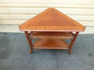 50949 Ethan Allen Banded Mahogany Corner Lamp Table Stand photo