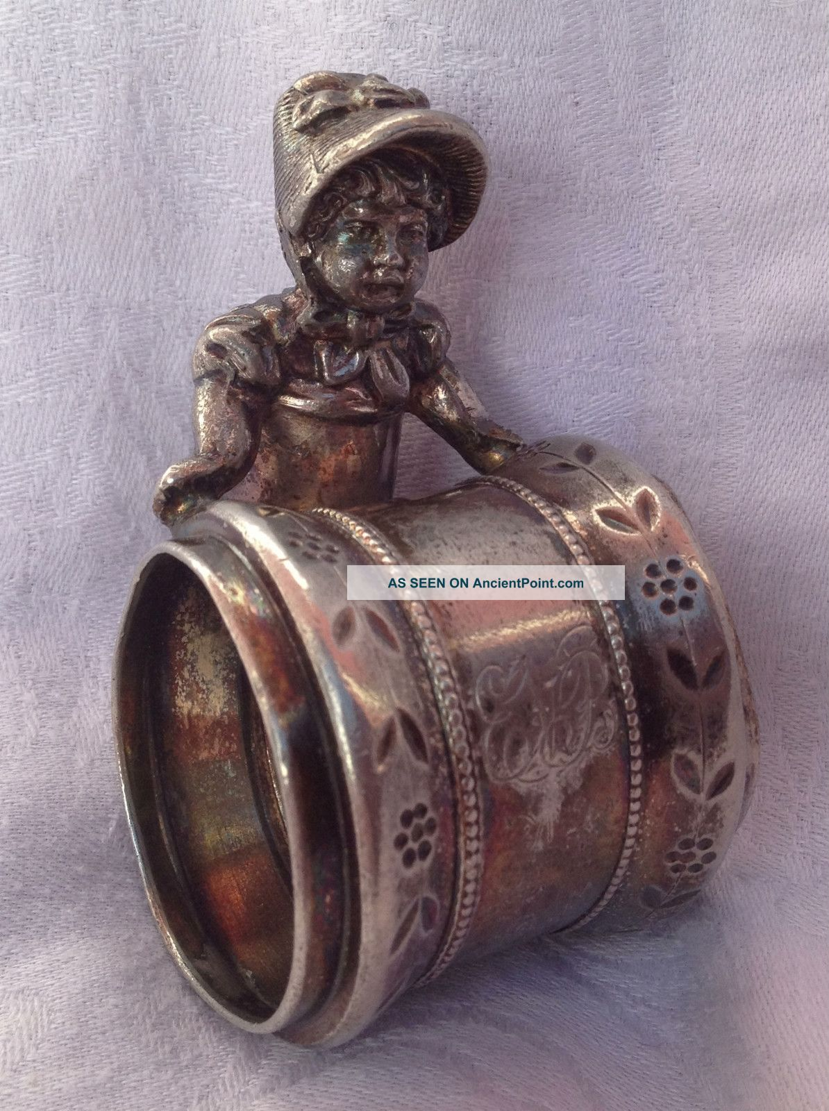 Charming Victorian Antique Kate Greenaway Girl Figural Silverplate Napkin Ring Napkin Rings & Clips photo