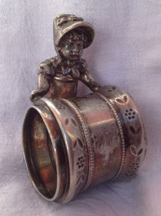 Charming Victorian Antique Kate Greenaway Girl Figural Silverplate Napkin Ring photo