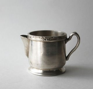 Vintage Wear Brite Nickel Silver Soldered Creamer Small Pitcher Grand Silver Co photo