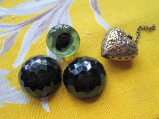 Antique 2 French Jet Buttons/charm/glass Eye photo