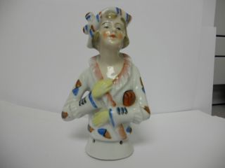 Antique German Pincushion Half Doll Fashion Lady Matching Dress/hat Inscribed S photo
