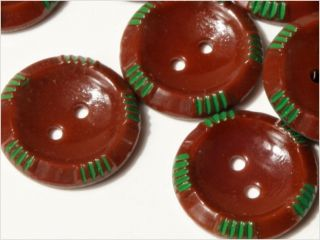 24 Czech Vintage Fancy Brown Sewthru Glass Buttons 14mm photo