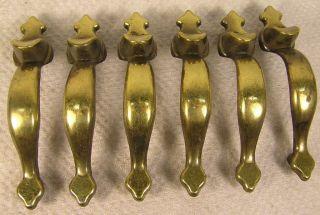 8 Vintage Brass Thumb Pull Handles Knobs 2 1/2