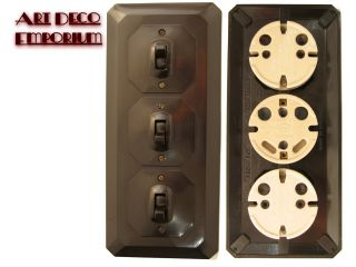 Mk Vintage Art Deco Bakelite 3 Gang,  1way Surface Mount Light Switch photo