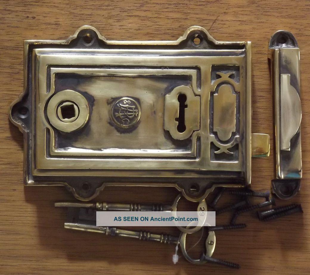 Brass Davenport Rim Lock Brass Lock Key Rim Lock Door Knobs & Handles photo