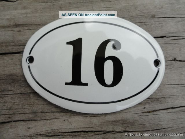 Small antique style enamel door number 16 sign plaque house number