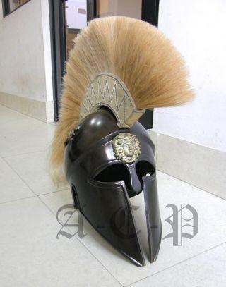 Antique Greek Corinthian Armor Helmet With White Plume - Greek Helmet W/dragon photo
