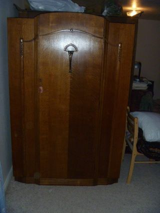 Unique Antique 1940 Oak German Wardrobe photo