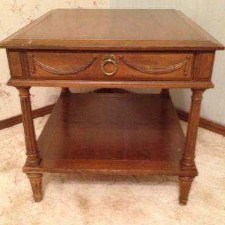 Mid Century Hollywood Regency Walnut End Table W/ Drawer/shelf - Amazing Table photo
