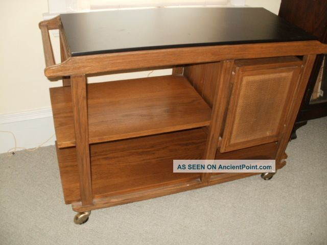 Mid Century Modern Danish Table Serving Cart Sideboard Bar Brandt Ranch Oak Ohio Post-1950 photo