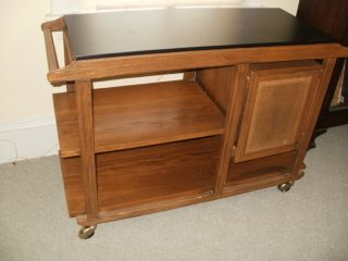 Mid Century Modern Danish Table Serving Cart Sideboard Bar Brandt Ranch Oak Ohio photo