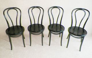 Thonet Style,  Ice Cream Parlor Chairs,  Bent Wood In Elegant Black Finish. photo