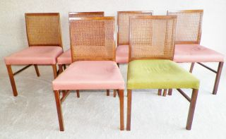 Set Of Six,  Mid Century,  Caned,  Dining Chairs By Drexel Heritage.  Eames Era photo