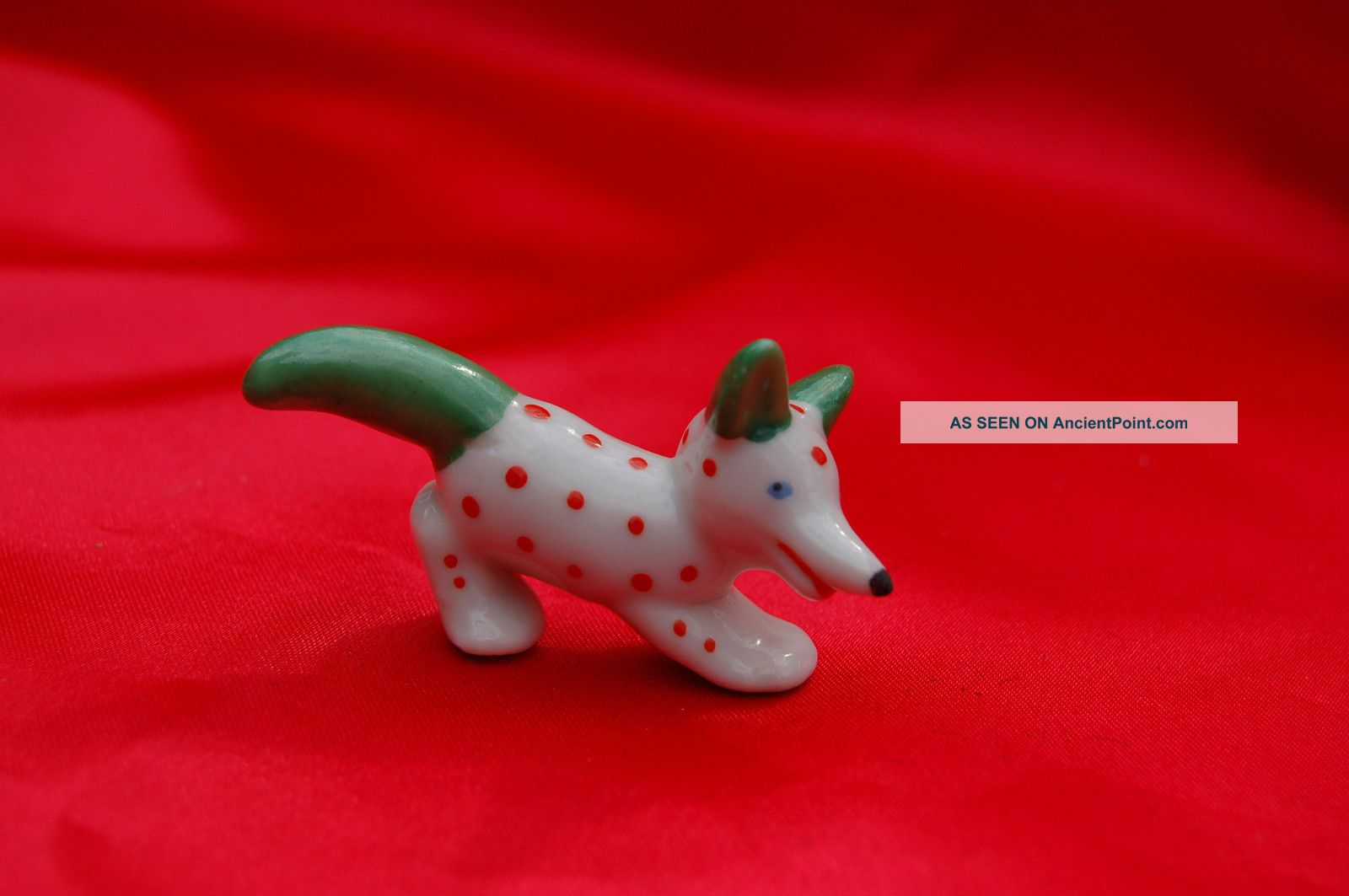 Antique Porcelain Dog Germany Red Dot Whimsical Terrier W Blue Eyes Green Ears Figurines photo