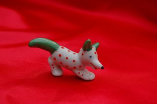 Antique Porcelain Dog Germany Red Dot Whimsical Terrier W Blue Eyes Green Ears photo